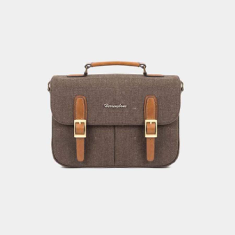 Túi máy ảnh Herringbone Canvas Satchel Medium - Brown color