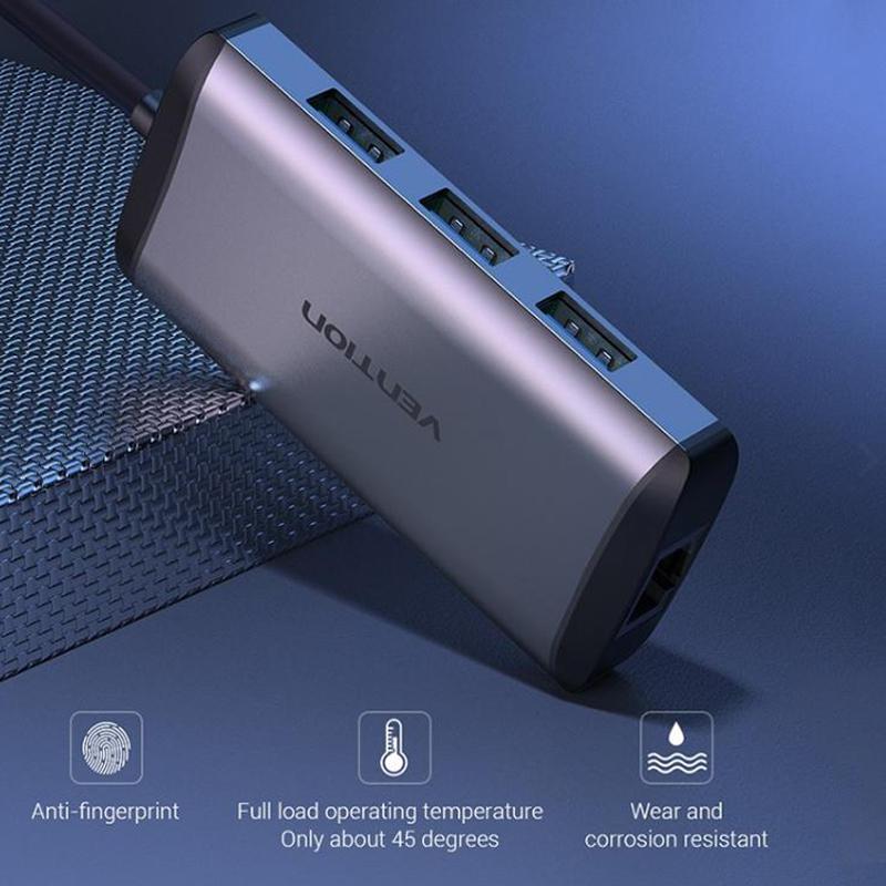 Chuyển đổi USB 3.0 to LAN + 3 port USB 3.0 Vention dài 15Cm CKBHB - Hàng chính hãng