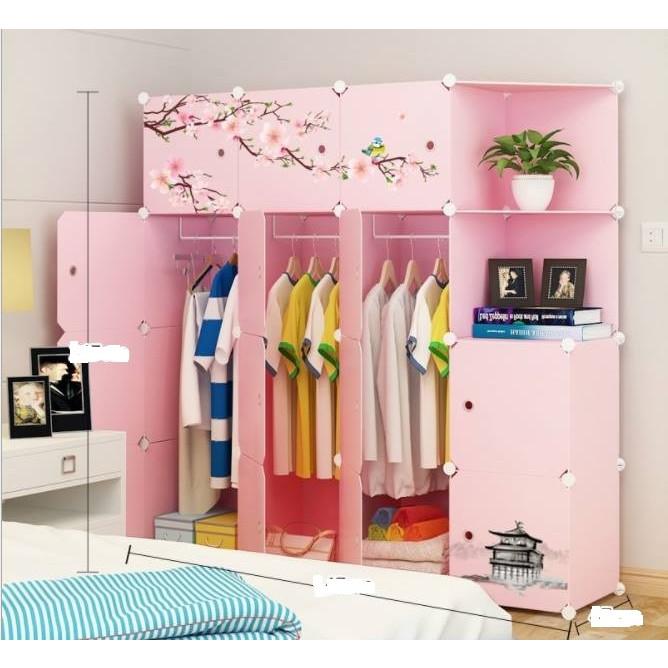 Tủ nhựa lắp ghép đa năng 14ô vuông + 2 góc xéo - Thân màu hồng- cửa màu hồng  hoa đào