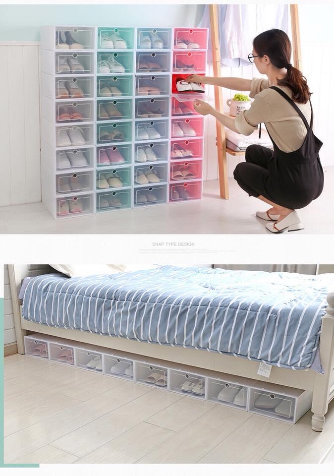 Combo 6 hộp đựng giày thông minh nhựa cứng sắc màu - giao màu ngẫu nhiên