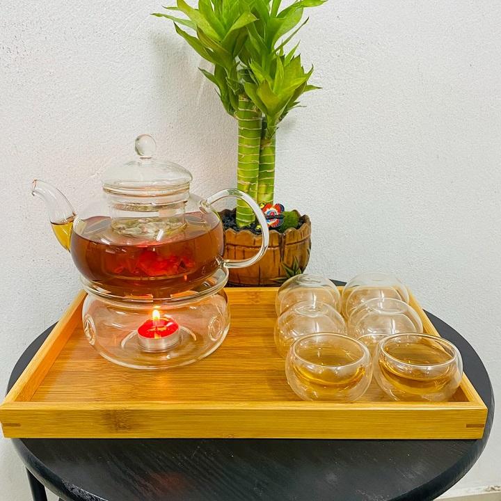Khay trà bằng gỗ tre phong cách Nhật Bản cao cấp Khay để bàn trà decor kiểu dáng hình chữ nhật 33cm