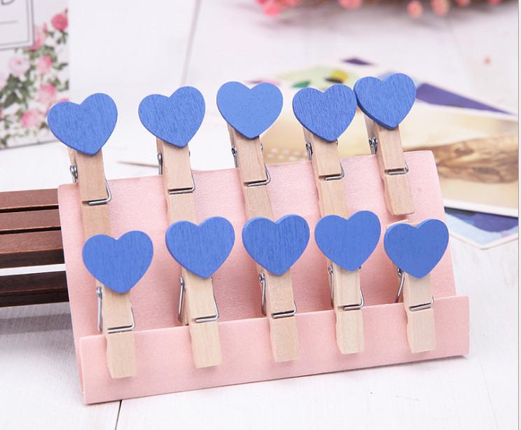 Bộ 10 kẹp gỗ hình tim màu trắng