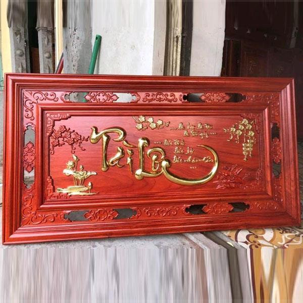 Tranh gỗ hương tài lộc dán vàng lá ( kích thước 67cm x 127cm )