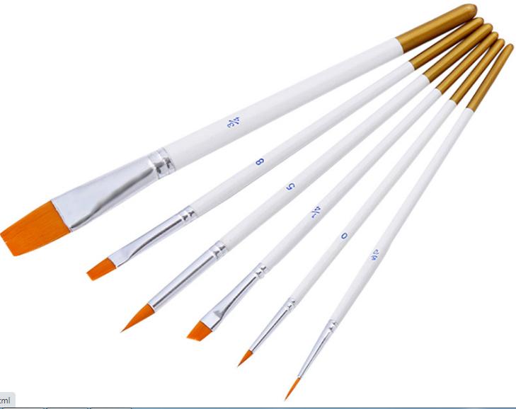 cọ tô vẽ bút vẽ sơn acrylic, sơn dầu 6 cây màu vàng