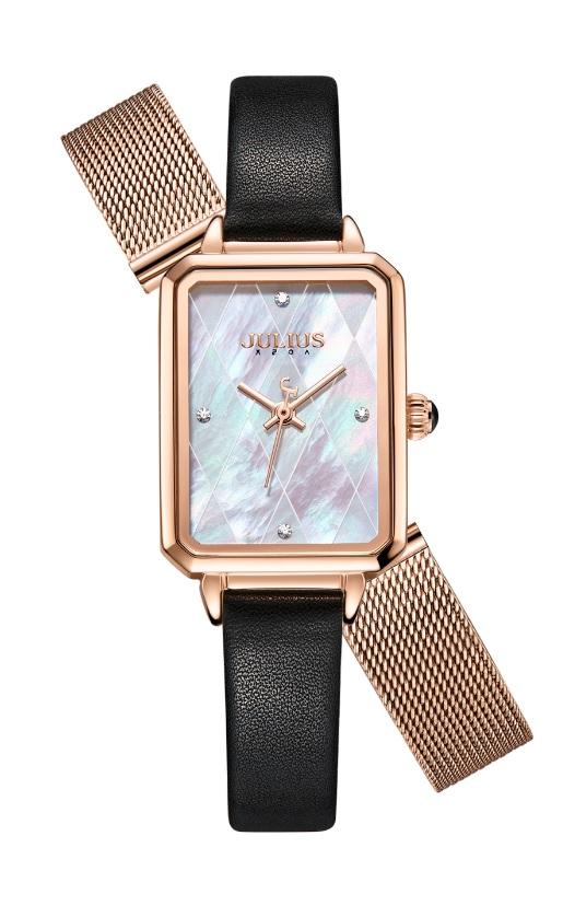 Đồng hồ nữ Julius JA-1280 dây da mặt chữ nhật (Tặng kèm 1 dây thép)