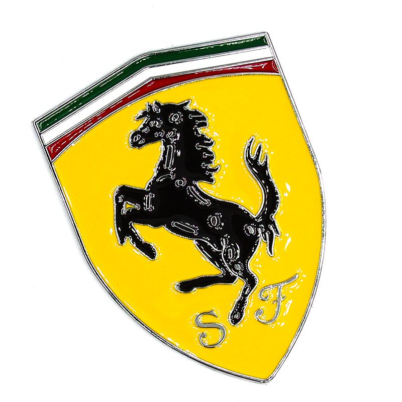 Sticker metal 3D hình dán kim loại - FERRARI SpA ngựa đen nền vàng