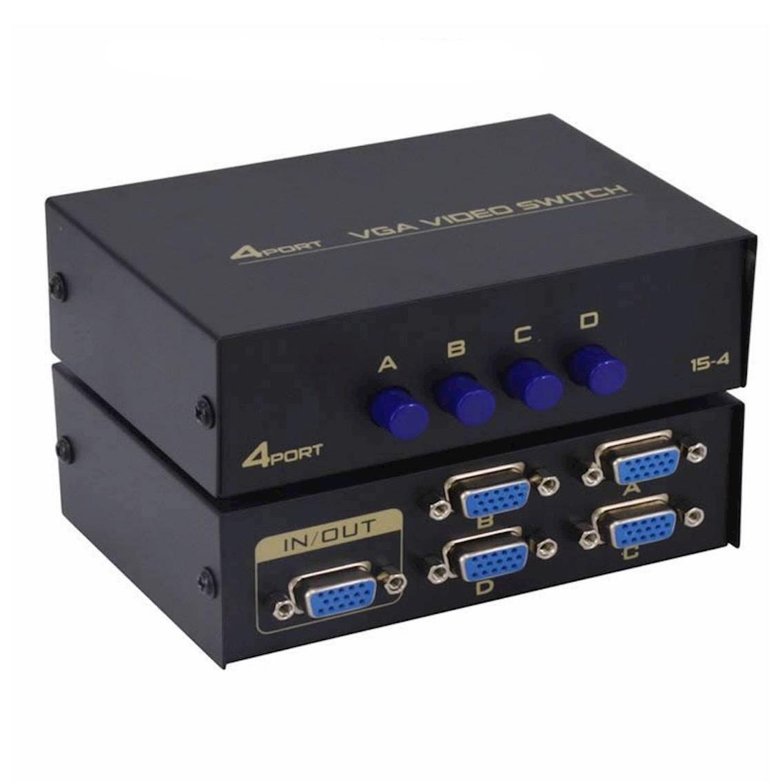 Hub chuyển đổi HN 4 CPU ra 1 VGA Mỗi cổng tín hiệu đầu ra hỗ trợ ba cấp cascade Thiết kế vỏ kim loại dầy dăn, được sơn phủ tĩnh điện giúp chống nhiễu cao.