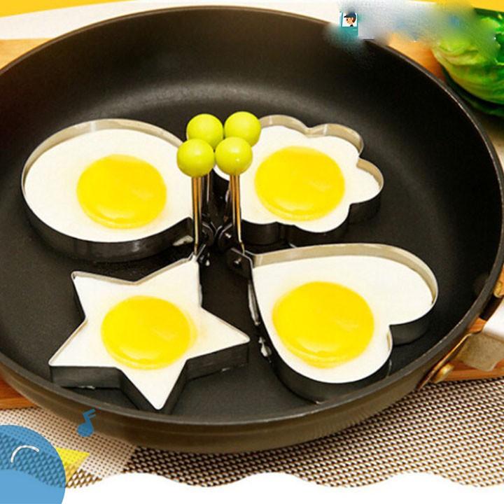 Bộ 4 khuôn chiên đúc trứng, làm bánh nhiều hình inox (hình ngẫu nhiên)