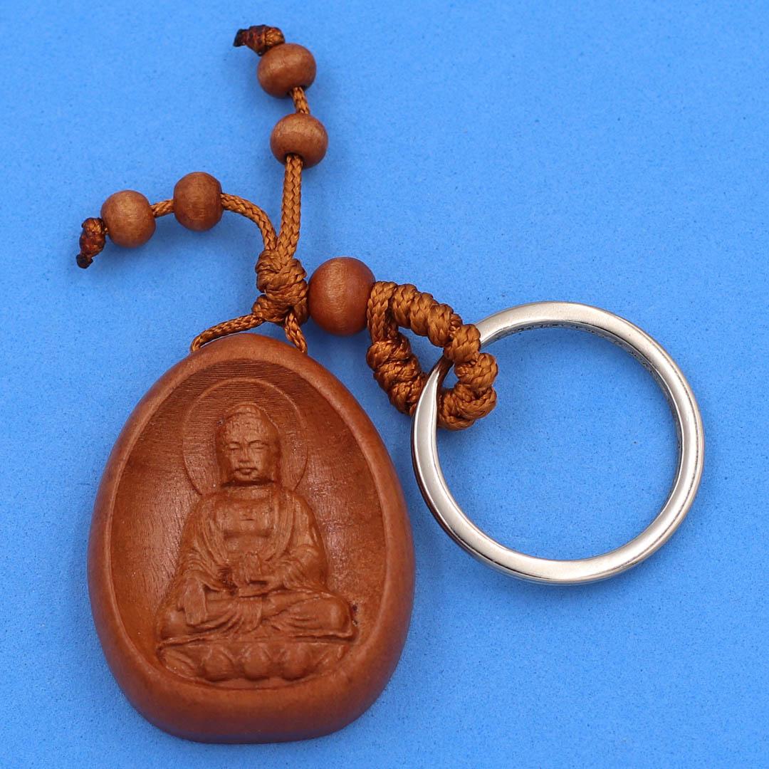 Móc chìa khóa gỗ hương khắc hình 8 vị Phật Bản Mệnh - móc khóa phong thủy, may mắn, bình an