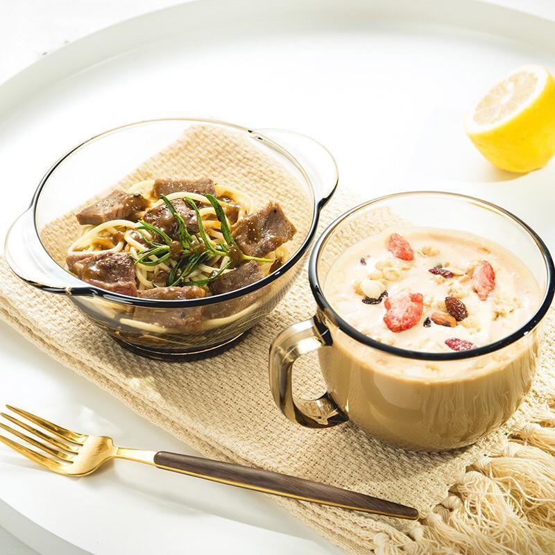 Cốc bát thủy tinh cường lực, cốc thủy tinh trong suốt chịu nhiệt đựng đồ ngũ cốc ăn sáng tiện lợi - CÓ SẴN
