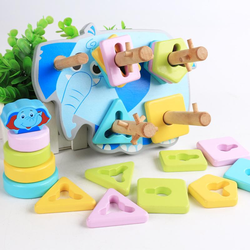 Bộ thả cọc 5 hình khối con voi xanh