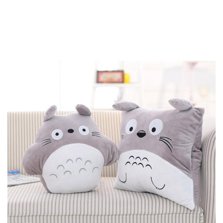 Combo Mền Gối Ngủ Văn Phòng Tiện Lợi Totoro Vuông Màu Xám Siêu Mịn 1.1x1.7m