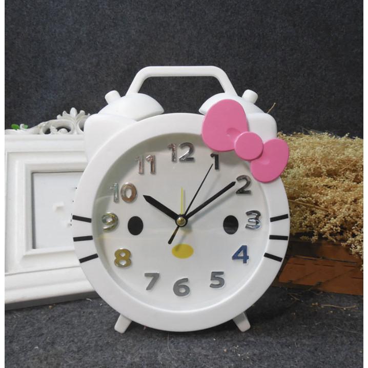 Đồng hồ báo thức để bàn nhựa Hello Kitty trắng 14x18cm