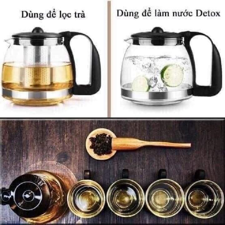 Bộ bình lọc trà thủy tinh kèm 4 ly