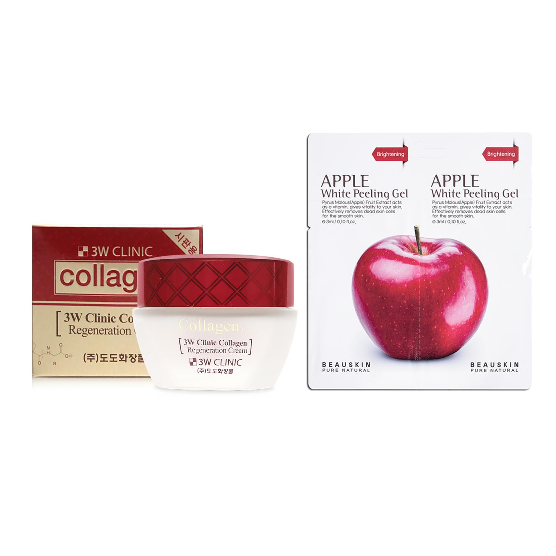 Combo kem dưỡng trắng da chống lão hóa 3W Clinic Collagen Regeneration Cream 60ml và  1 Tẩy da chết SÁNG DA SẠCH MỤN Beauskin Apple White Peeling Mini Size