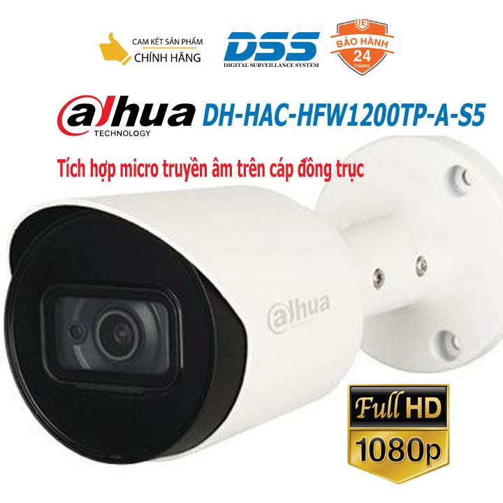 Camera HDCVI thân 2MP tích hợp micro Dahua DH-HAC-HFW1200TP-A-S5 hàng chính hãng DSS Việt Nam