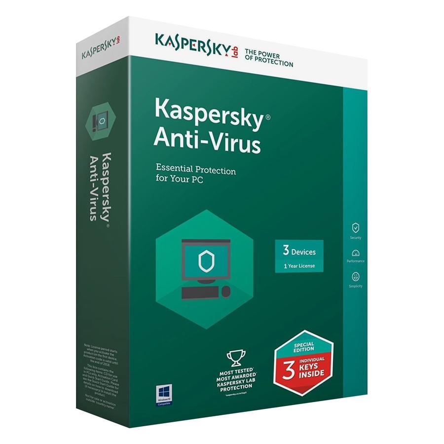 Phần Mềm Diệt Virus Kaspersky Antivirus  (KAV) - 3 User  - Hàng chính hãng