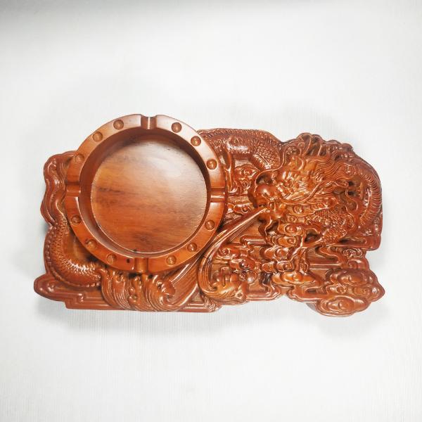 Gạt tàn gỗ hương trạm khắc Rồng tinh xảo