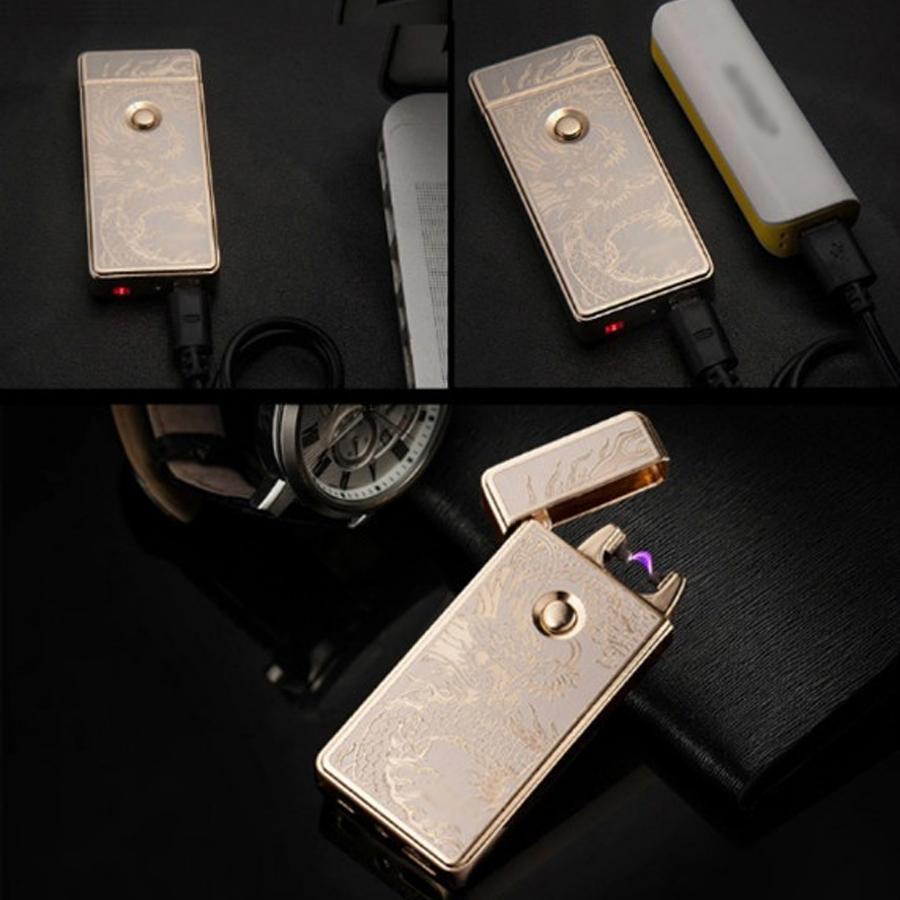 Hộp Quẹt Bật Lửa Tia Điện Plasma Sạc Cổng USB ZB-308B Khắc Hình Rồng