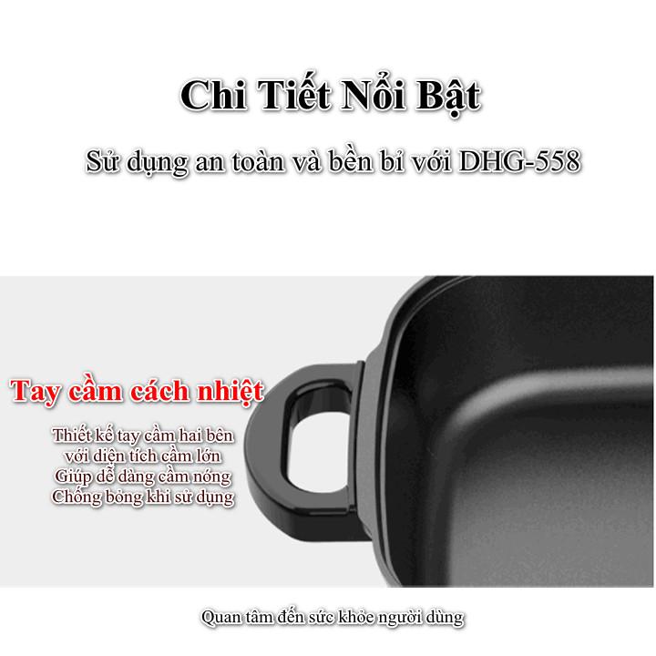 Nồi lẩu điện đa năng Liven DHG-558 dung tích 5.5 lít công suất 1650W Hàng Chính Hãng