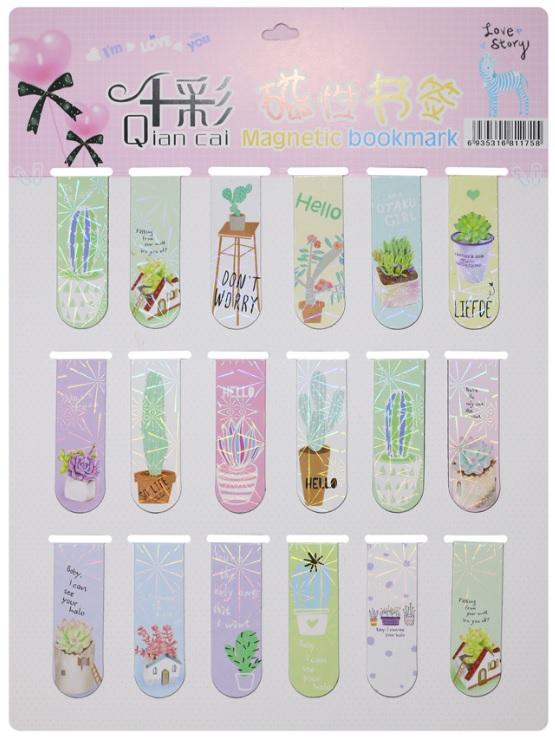 Combo 18 Bookmark Nam Châm Đánh Dấu Sách - Xương Rồng (Mẫu Ngẫu Nhiên)