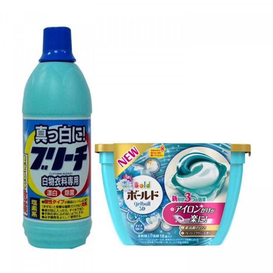 Combo Nước tẩy quần áo 600ml Rocket  Hộp 18 viên giặt xả 3D Gel Ball 2 trong 1 nội địa Nhật Bản - màu xanh - 23301709 , 1539512089139 , 62_12721735 , 281000 , Combo-Nuoc-tay-quan-ao-600ml-Rocket-Hop-18-vien-giat-xa-3D-Gel-Ball-2-trong-1-noi-dia-Nhat-Ban-mau-xanh-62_12721735 , tiki.vn , Combo Nước tẩy quần áo 600ml Rocket  Hộp 18 viên giặt xả 3D Gel Ball 2 t