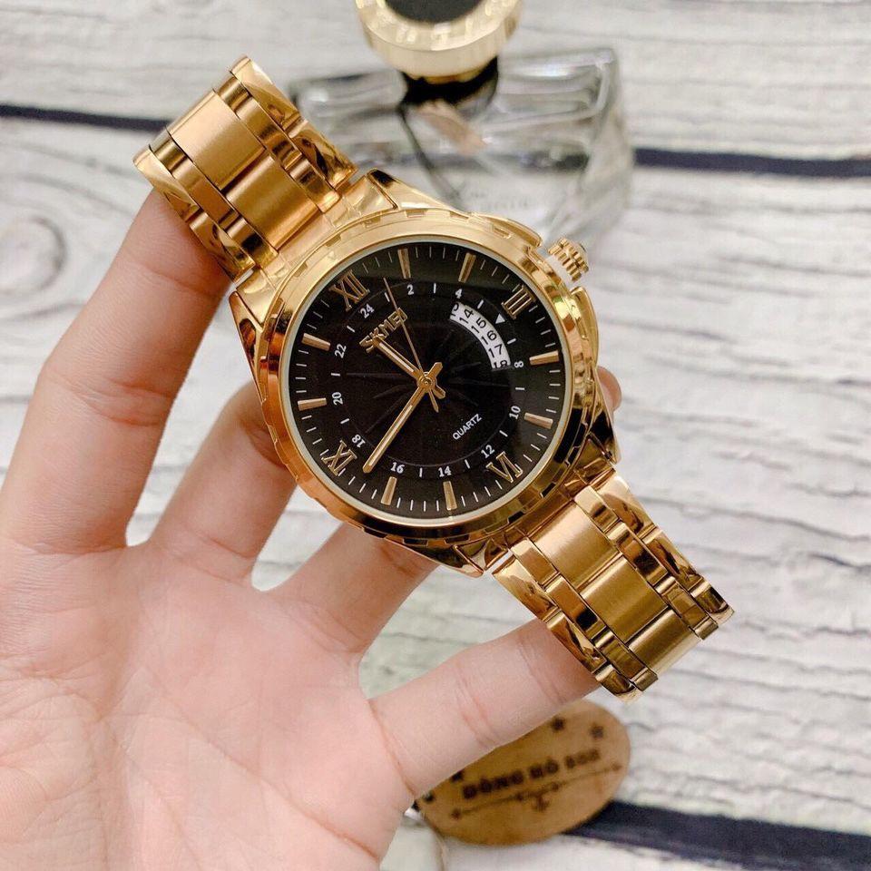 Đồng hồ dây kim loại thời trang nam Skmei Sk6909, mặt tròn kính cứng kèm lịch ngày sang trọng