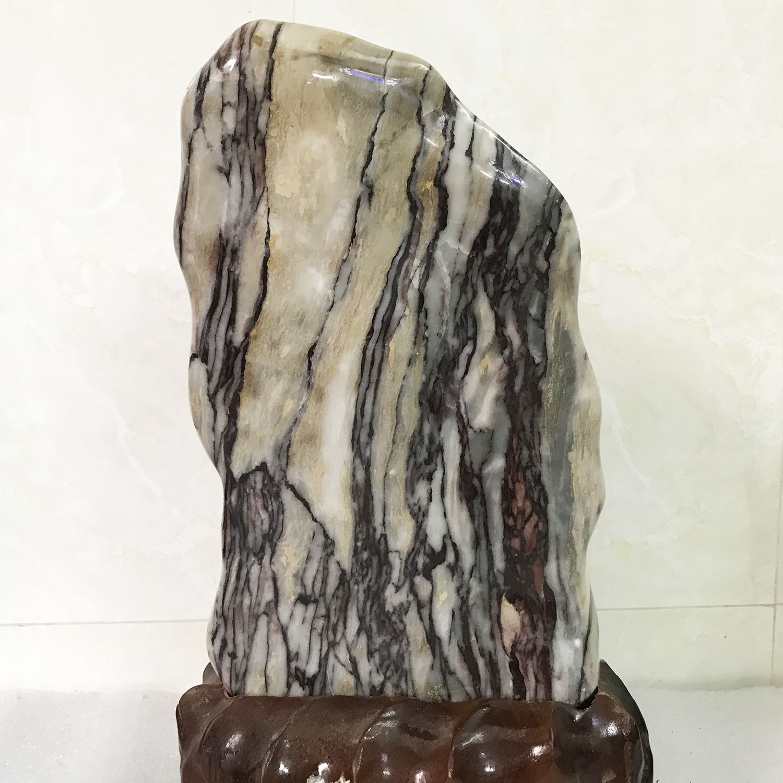 Cây đá vân mây đỏ trắng cao 39 rộng nặng 8kg 100% tự nhiên cho người mệnh thổ và hỏa