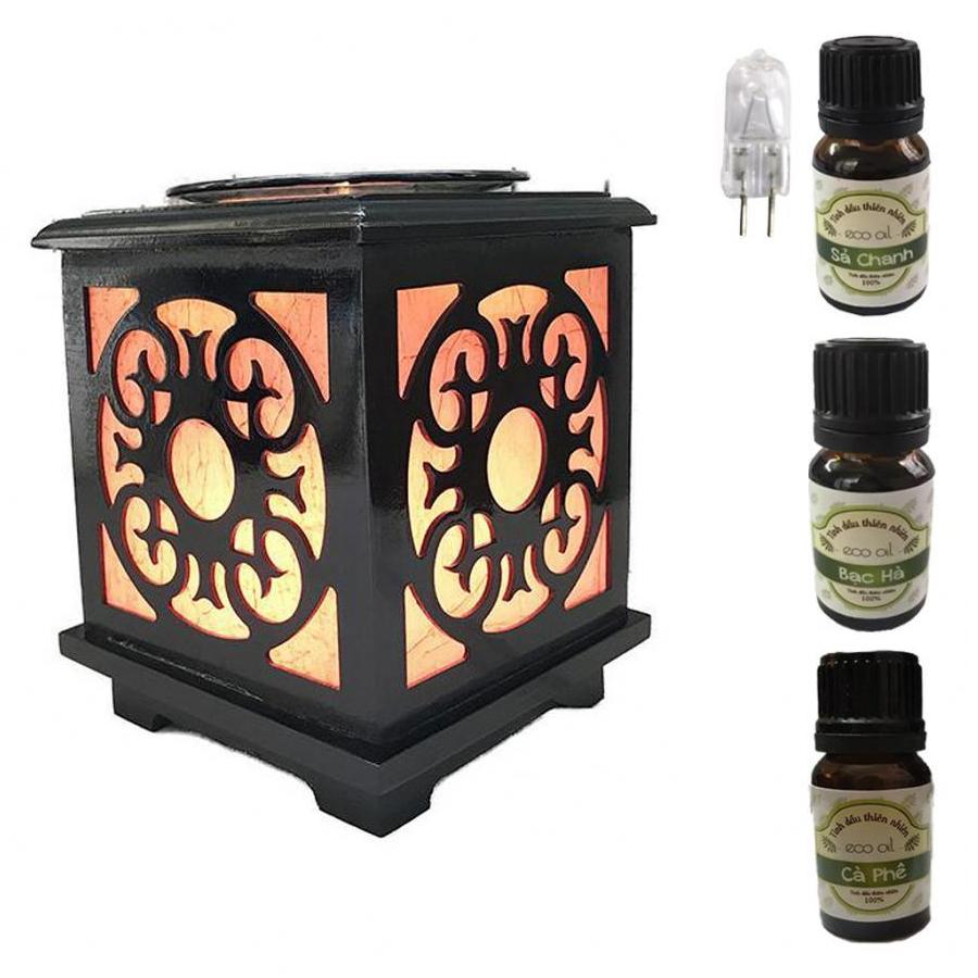 3 tinh dầu (Sả chanh, bạc hà, cà phê) Eco 10ml và đèn xông tinh dầu gỗ vuông AH43 và 1 bóng đèn