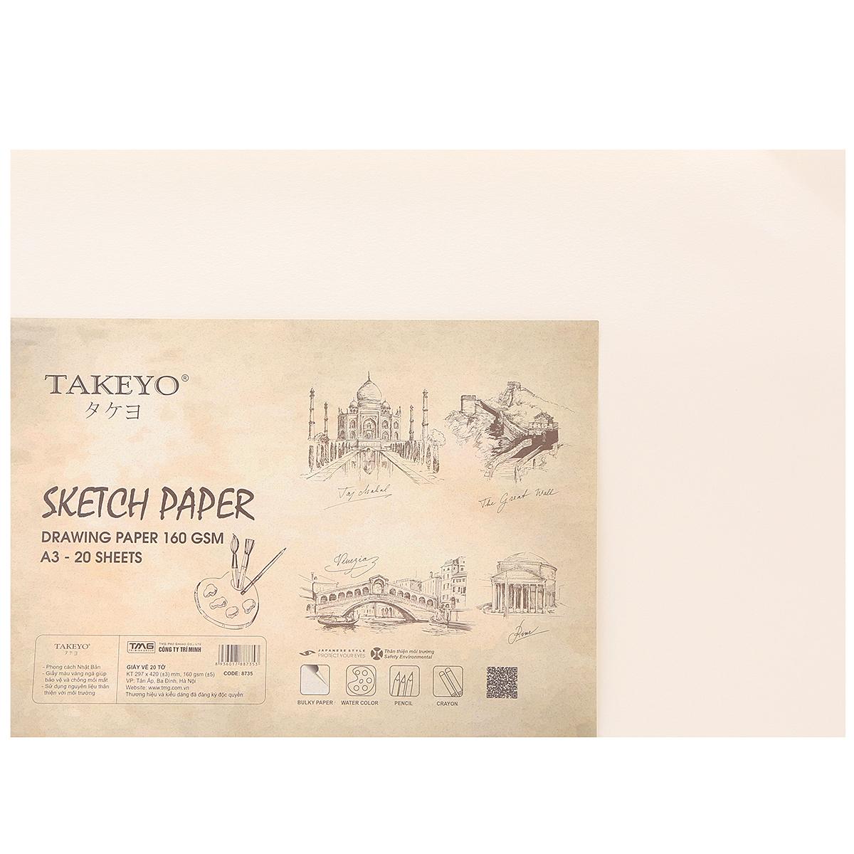 Giấy Vẽ Takeyo 8735 A3 - 20 Tờ DL160G - Giao Mẫu Ngẫu Nhiên