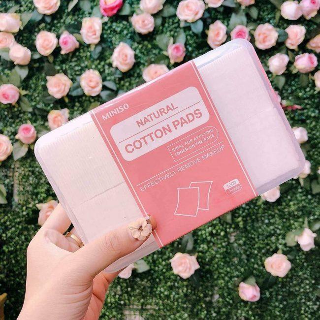 Bông tẩy trang Miniso Natural Cotton Pads 1000 miếng không gây cảm giác khô rát bề mặt da