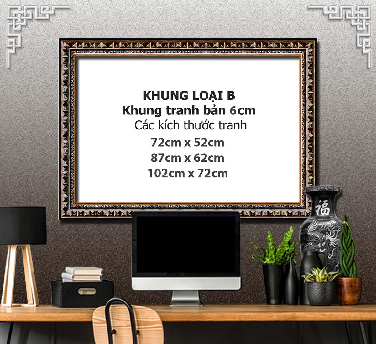 Bức tranh treo tường phòng khách, phòng ngủ SƠN THỦY HỮU TÌNH khung gỗ composit chất liệu pvc gương hoặc cán lụa:1742L8