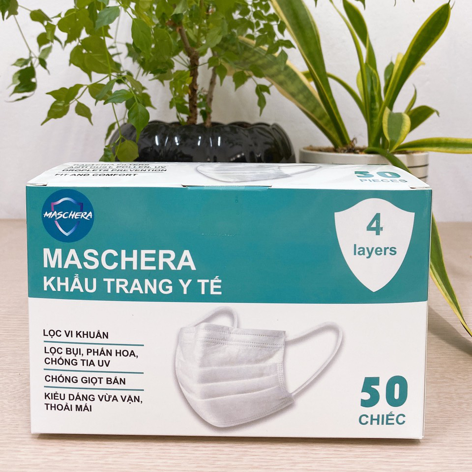 Khẩu trang y tế 4 lớp Maschera (giấy kháng khuẩn Việt Nam, Hàn Quốc) hộp 50 chiếc - Kháng khuẩn, ngăn khói bụi, ngăn ngừa tia UV