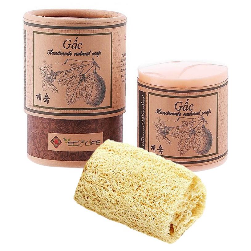 Xà phòng gấc tặng xơ mướp - Gac Handmade Soap