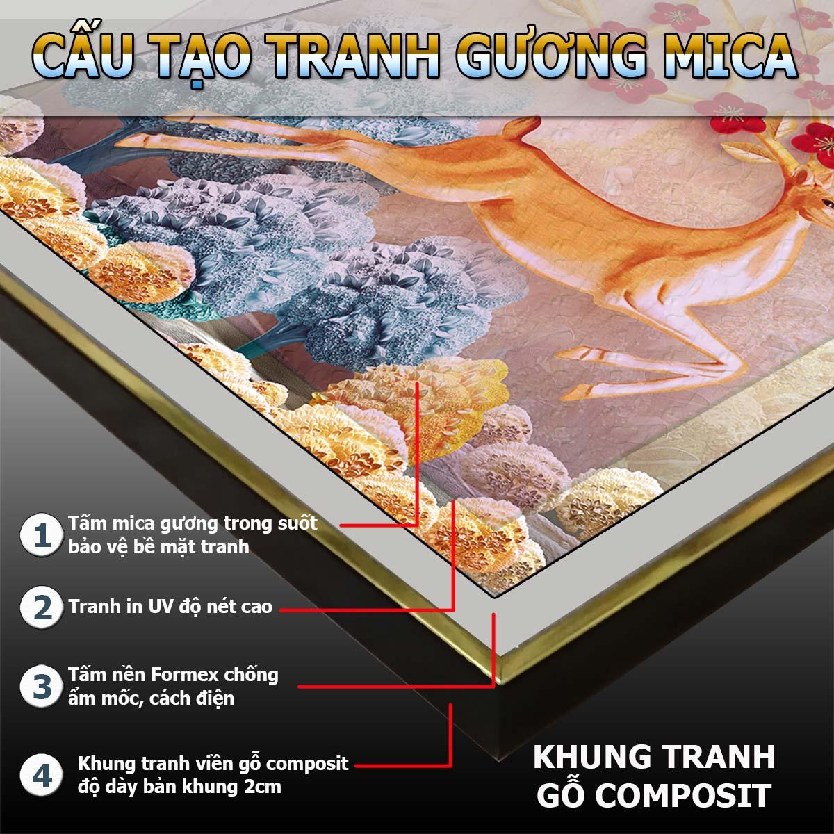 Bộ tranh gương 3 bức. Chất liệu bề mặt gồm 2 lựa chọn PVC hoặc mica trong suốt, 2 lựa chọn viền khung ms: 23128911L1