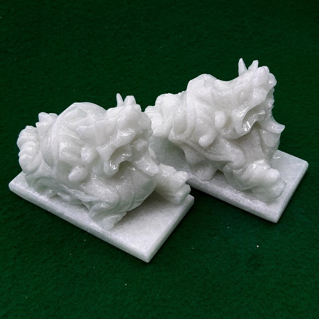 Cặp Tượng Tỳ Hưu phong thủy đá trắng cẩm thạch đẹp tự nhiên Non Nước mini decor để bàn làm việc, để taplo ô tô, xe hơi, để tủ thần tài, decor trang trí đáng yêu - Hàng đá mỹ nghệ truyền thống