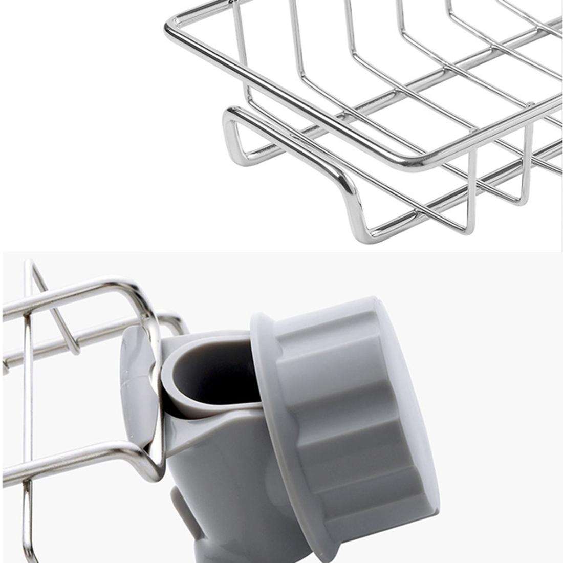 Giá để giẻ rửa bát, nước rửa chén đa năng chất liệu Inox 304 sáng bóng không han gỉ, kích thước 17x10.2x6.5cm - Tặng kèm 4 khăn lau chén bát, lau nhà bếp siêu thấm hai mặt loại xịn