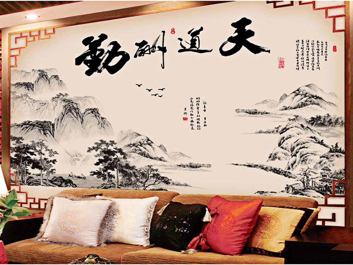 Decal dán tường tranh phong thủy núi sông đen trắng 2 mảnh gs8813