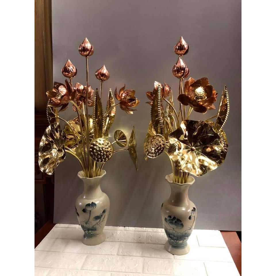 Combo 2 bộ hoa sen đồng 12 bông cắm hình tròn ( tặng đôi lọ hoa bằng sứ vẽ sen men rạn) - TL185