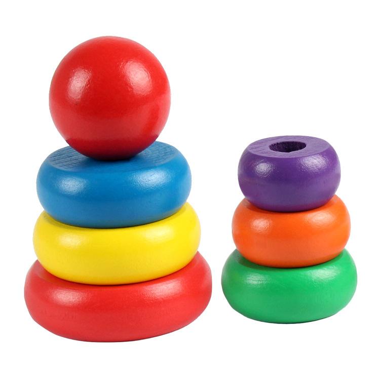 Tháp màu cầu vồng gỗ giúp bé nhận biết màu sắc, kích cỡ - Loại nhỏ-TotdepreHG1018