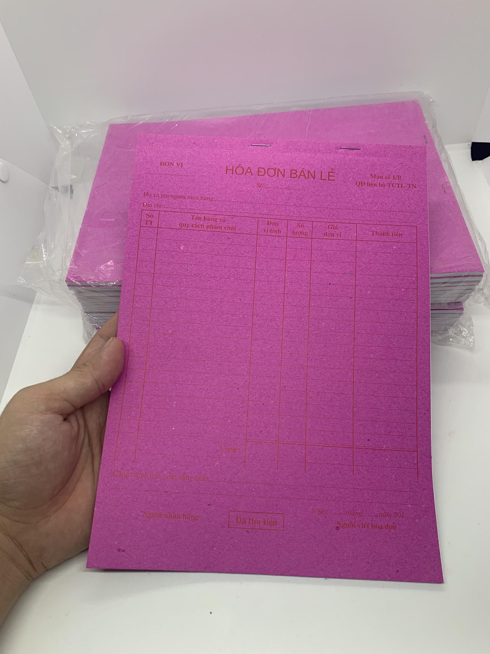 [1 Cuốn] Hoá đơn bán lẻ 1 liên - Khổ giấy A4 tiện dụng cho quán ăn, tạp hoá