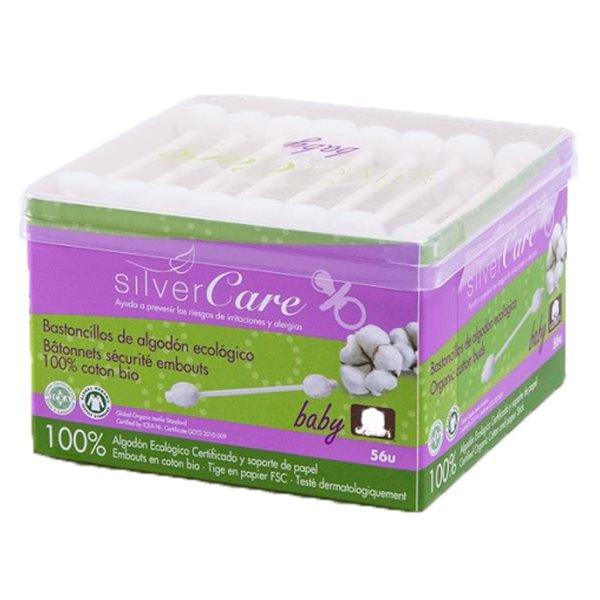 Bông tăm hữu cơ đầu to cho bé Silvercare hộp 56 cái