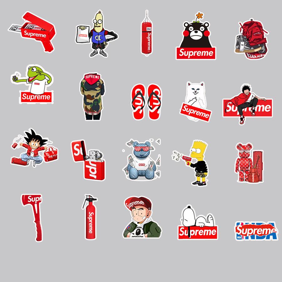 Bộ 50 Miếng Dán Sticker Supreme Hoạt Hình