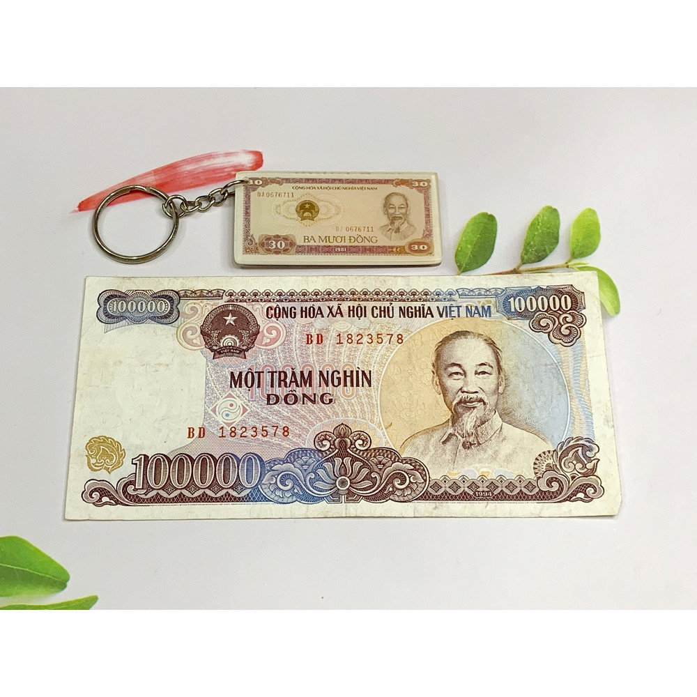Tờ tiền 100 ngàn đồng giấy cotton xưa 1994 [TIỀN XƯA THẬT 100%] tặng kèm móc khóa hình tiền xưa
