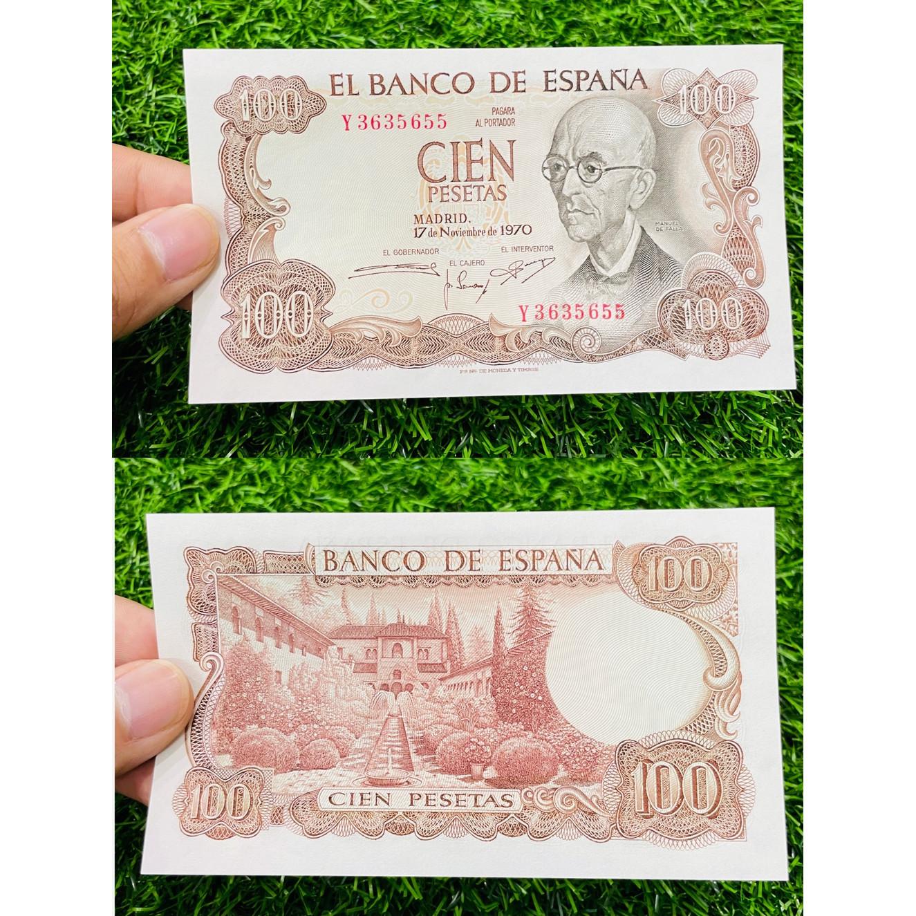 Tiền Tây Ban Nha 100 Pesetas xưa 1970 , tiền cổ châu Âu Spain , mới 100% UNC, tặng túi nilon bảo quản