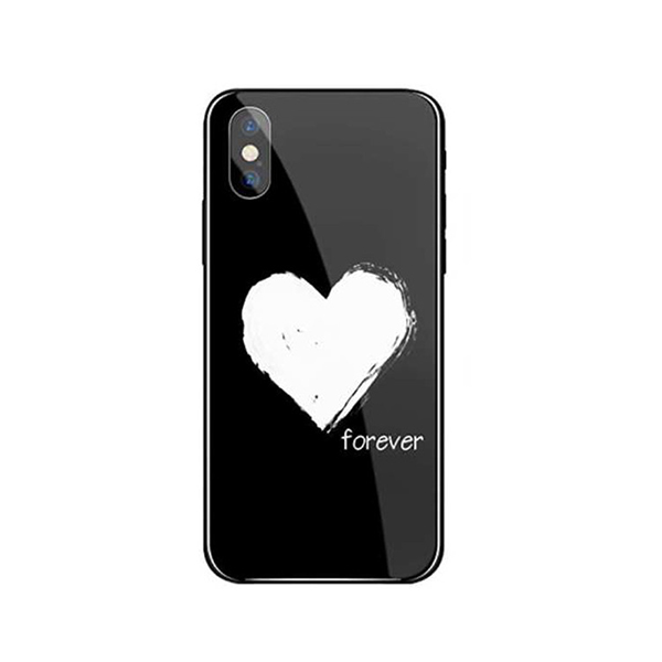 Ốp lưng mặt kính cao cấp sang trọng cho iPhone 7Plus8Plus - Love Forever - đen - Hàng chính hãng