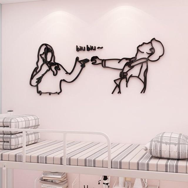 Tranh dán tường mica 3d - cặp đôi 3d trang trí phòng khách, phòng ngủ, phòng trà, quán cafe, trà sữa