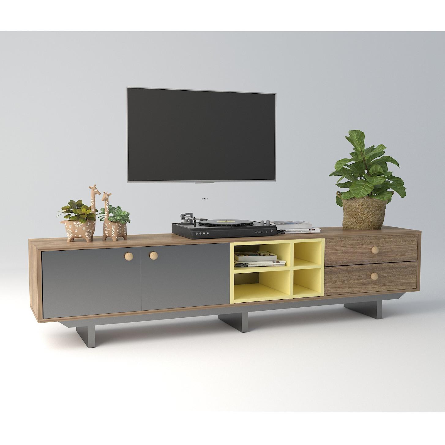 Kệ Tivi Măng Furniture KTV001 vật liệu MDF phủ Melamine D1600 x R350 x C450mm