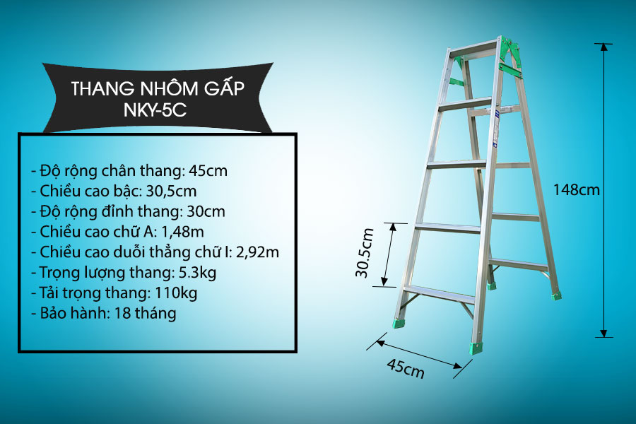 Thang Nhôm Gấp Nikawa NKY-5C - 2.67 mét