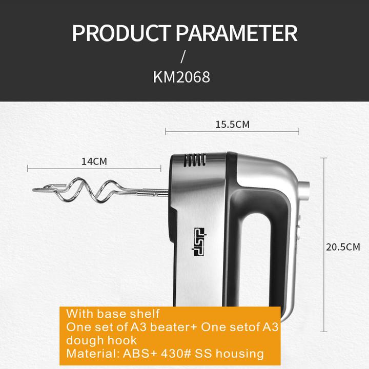 Máy đánh trứng và làm bánh cầm tay 5 tốc độ cao cấp thương hiệu DSP KM2068 - Công suất: 250W - Chất liệu  Inox và nhựa ABS - Hàng Nhập Khẩu